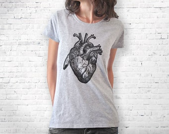 Anatomical heart T-shirt-Valentines day gift-retro women heart shirt-men's heart t-shirt-vintage heart woman tank-by NATURA PICTA-NPTS014