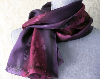 Silk Scarf Hand Painted in Wine and Plum Purple