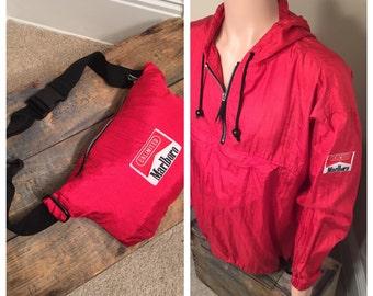 Marlboro windbreaker folds into a fanny pack // Vintage Marlboro cigarettes // light weight jacket // 90s Windbreaker // adult size XL rare v7BJBWKaGR