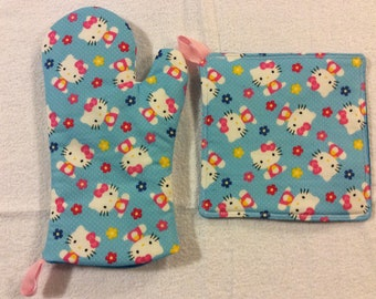 Blue Hello Kitty Oven Mitt and Hot Pad