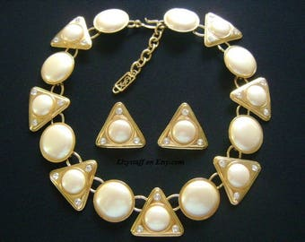 High End YSL Yves Saint Laurent Paris France  Haute Couture Gold W/Gripoix Pearls Crystal Geometric Round Pyramid Triangle Necklace Earrings