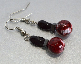 Black & Red Dangle Earrings; Mini-Goth Earrings, Nickle-Free Earrings, Gifts for Her, Handmade in the USA, Ready to Ship