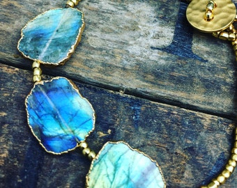 Ocean mystery- Sliced Labradorite bracelet with 24K Gold glass beads  hand curved rustic 24K coated button closure,Matana Jewelry gift idea