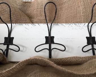 Wire Locker Room Wall Hooks on Reclaimed Wood-Wire Hook- Antique-Coat Rack-Towel Hooks-Coastal-Farm House Decor-Industrial Wall Hooks
