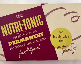 Vintage 1950s Hollywood Nutri-Tonic Perm Rod Rollers Curlers in Original Box