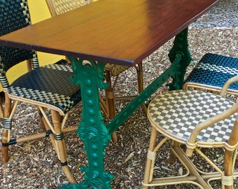 Antique French Cafe Table:  Wood Top; Metal Trestle Base