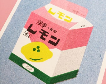 A risograph print of a box of lemon milk