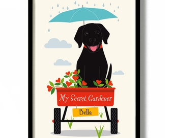 Black Lab Personalized Gift Garden Art for Dog Lover Idea Black Labrador Retriever Print New Lab Puppy Secret Garden Outdoor Gardening