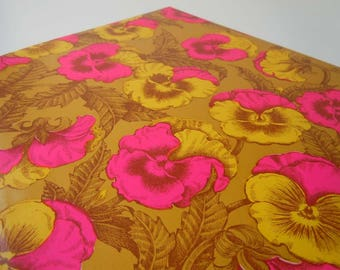 1960s All Occasions Wrapping Paper Hot Pink Yellow Gold Pansy Flower Gift Wrap