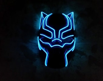 Marvel's Black Panther Movie LED Light Up T'Challa Superhero El Wire Halloween Cosplay Costume Mask!