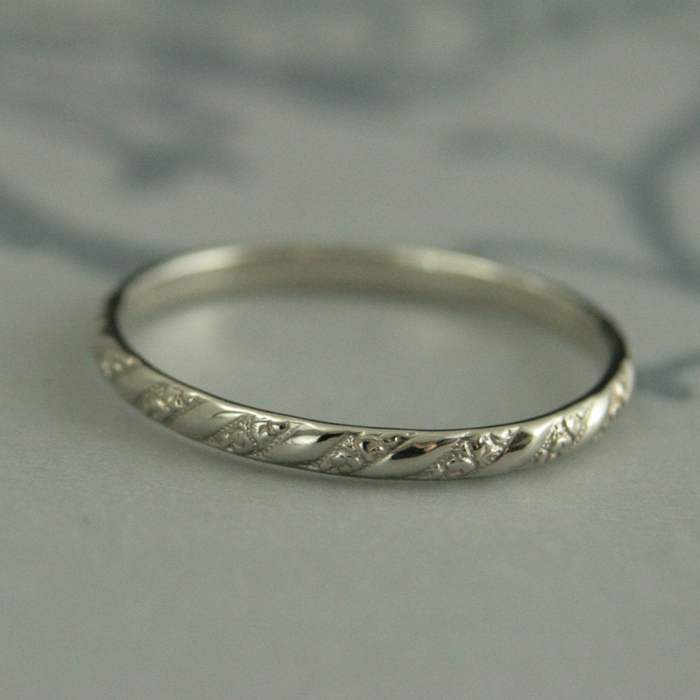 hammered media band bands wedding or dainty thin solid ring gold stacking smooth
