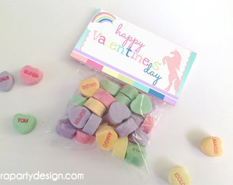 Valentines Day Folding Cards- Unicorn Theme Non Personalized Tags by Fara Party Design | Valentine's Day| School Class