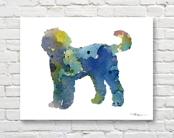 Blue Goldendoodle Art Print - Abstract Watercolor Painting - Wall Decor
