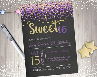 Sweet 16 Invitation Purple and Gold sweet 16 birthday invitation sweet sixteen birthday party confetti digital DIY printable