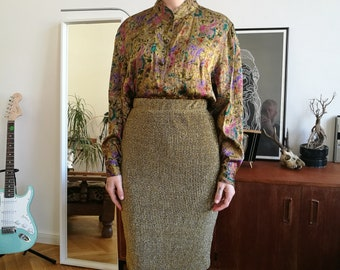 Vintage golden shirt with mao collar