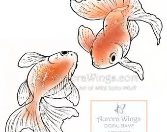Instant Download - Digital Stamp - 3 Pack - Fancy Goldfish - digistamp  - Line Art for Cards & Crafts by Mitzi Sato-Wiuff