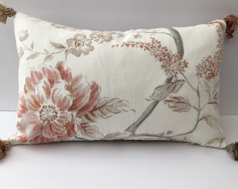 Tasseled floral rectangle decorator pillow with feather insert