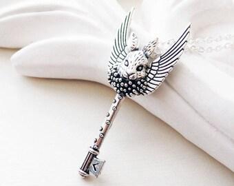 Flying Rabbit Necklace | Key Necklace | Woodland Jewelry
