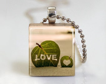 Love Nature Leaf Photography - Scrabble Tile Pendant - Free Ball Chain Necklace or Key Ring