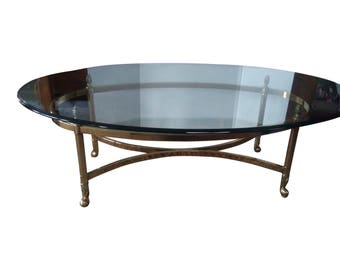 Vintage Glass and Brass Hollywood Regency LaBarge Style Coffee Table