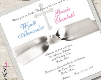 Twin First Communion Invitation Twin Boy and Girl