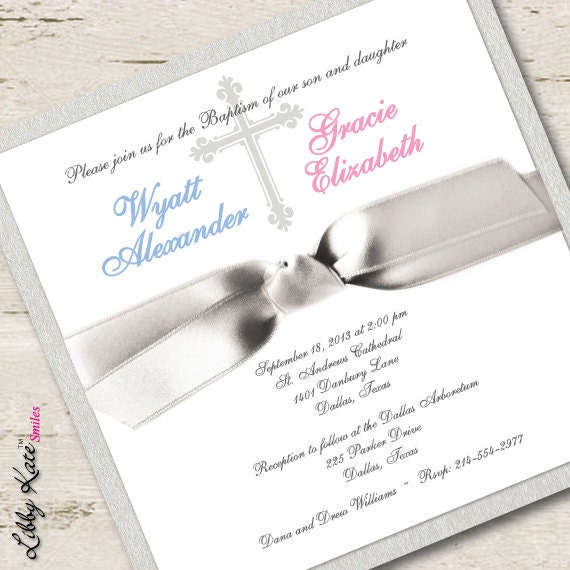 Twin Baptism Invitation Twin Christening Invitation Boy And