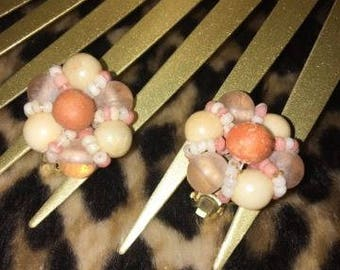 Vintage Neutral Cluster Clip Earrings