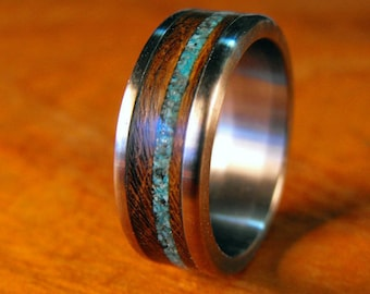 Titanium Ring, Wood Ring, Turquoise Ring, Mens Wedding Band, Wedding Ring, Mens Ring, Womens Ring, Wooden Ring, Mens Wood Ring, Handmade