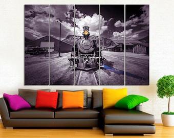 Train canvas Train front print Large Canvas Train black and white Train wall art Train home decor Train wall decor Canvas print Room Decor