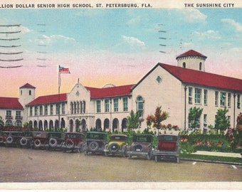 "Florida, Vintage Postcard, ""Million Dollar Senior High School, St. Petersburg, Fla.,""  1935, #1341."