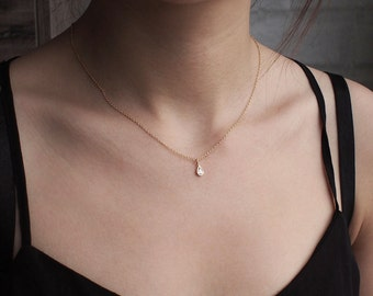 Dainty CZ Drop Necklace, Minimalist Necklace, Simple Layering Necklace in Sterling Silver #D62