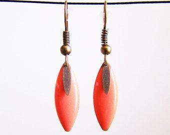 Orange fine shuttle enamelled earrings