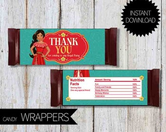 Elena of Avalor Birthday Party PRINTABLE Candy Wrappers- Instant Download   Disney Elena  Princess Elena of Avalor  Chocolate Wrappers