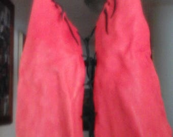 Leather Halter Top Red