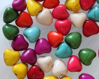 set of 6 heart beads