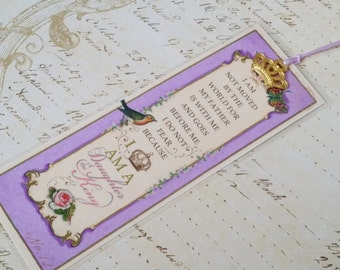 """Daughter of the King Bookmark Princess Party Favor """"LAVENDER"""" Sunday School Class gift Inspirational Gift Strength for the Journey"""
