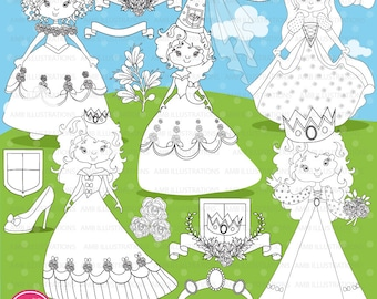 Princess digital stamp, Fairy princess digital stamp, coloring page, black and white line, royal digital stamp, digital stamp, AMB-896