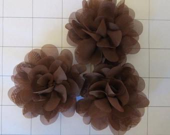 "Set of 3 2.75"" Brown Chiffon Flowers Embellishments Dance Costumes!"