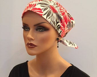 Sandra Scarf, A Women's Surgical Scrub Cap, Cancer Headwear, Chemo Head Scarf, Alopecia Hat, Head Wrap, Head Cover, Hair Loss Red Black Gray