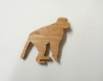 wooden monkey  brooch scroll saw