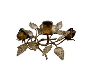 Vintage Italian Gilt Tole Candle Holder