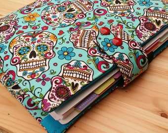 Skulls planner cover Turquoise fabric 17 pocket  Red button snap Adjustable ECLP  Plum Paper planner A5 Filofax Domino