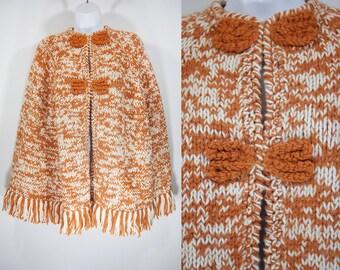 Vintage 70's Knit Poncho Orange & White