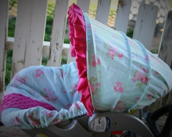 polka dots with aqua and pink flowers with pink minky infant car seat cover and hood cover with pink satin ruffle