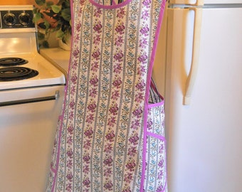 Plus Size Vintage Style Crossover No Tie Apron in Purple Size XXL
