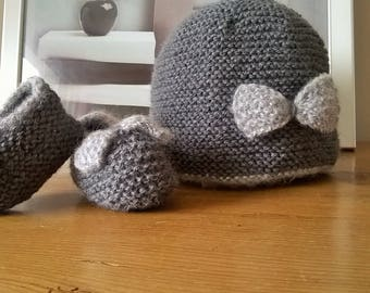Wool baby booties and BEANIE baby
