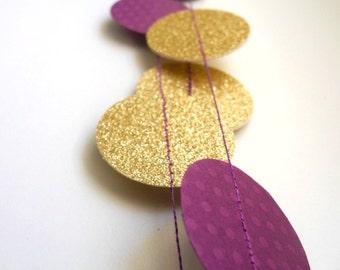 Purple glitter garland, Gold Plum radiant orchid garland, Cream circle paper ,violet baby shower decor, nursery decor, girl birthday party