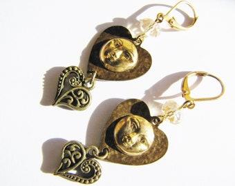 Victorian Style Heart and Sun Earrings, Heart Earrings, Sun Earrings, Heart & Sun Earrings, Sun Face Earrings, ERG98
