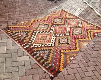 Kilim rug,101'' x 65' Vintage Turkish rug, muted colored area rug, vintage rug, bohemian rug, eccentric rug, anatolian rug, soft rug, 530