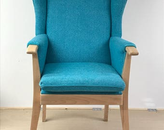 Mid century vintage 1960s fully reupholstered wingback chair